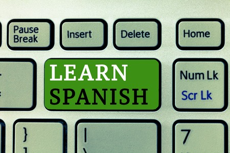 Word writing text Learn Spanish. Business concept for Translation Language in Spain Vocabulary Dialect Speech. Stok Fotoğraf