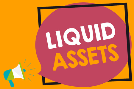 Word writing text Liquid Assets. Business concept for Cash and Bank Balances Market Liquidity Deferred Stock Megaphone loudspeaker loud screaming orange background frame speech bubble