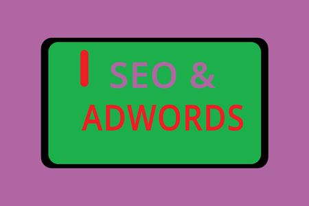 Writing note showing Seo and Adwords. Business photo showcasing Pay per click Digital marketing  Adsense.