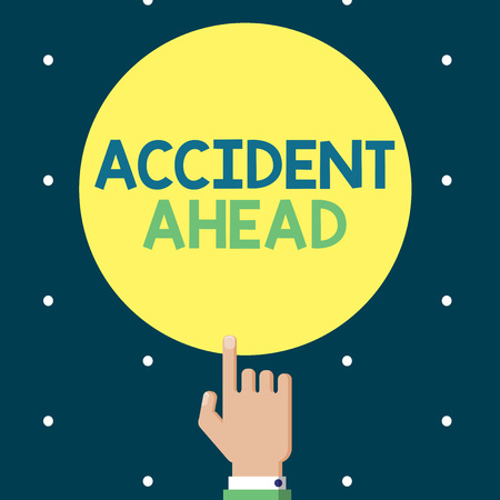 Writing note showing Accident Ahead. Business photo showcasing Unfortunate event Be Prepared Detour Avoid tailgating. Foto de archivo