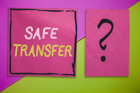 Writing note showing Safe Transfer. Business photo showcasing Wire Transfers electronically Not paper based Transaction.