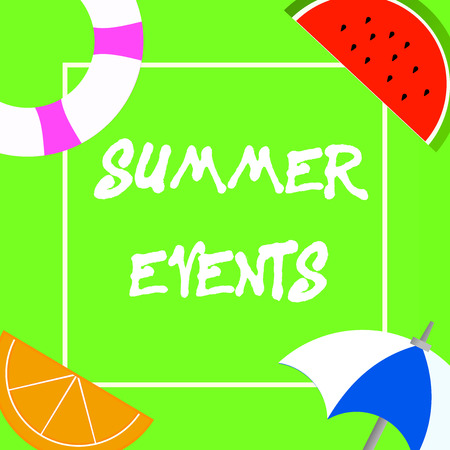 Text sign showing Summer Events. Conceptual photo Celebration Events that takes place during summertime. 版權商用圖片
