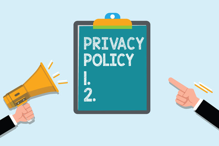 Conceptual hand writing showing Privacy Policy. Business photo text Document that explains how an organization handles clients. Archivio Fotografico