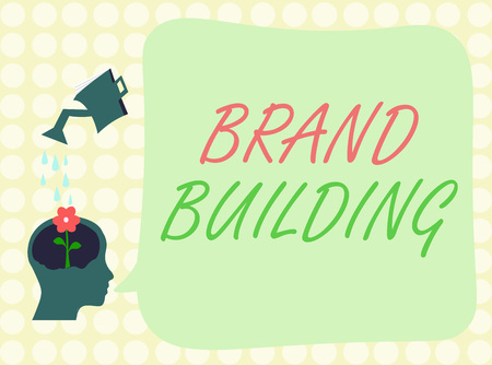 Conceptual hand writing showing Brand Building. Business photo showcasing Generating awareness Establishing and promoting company.