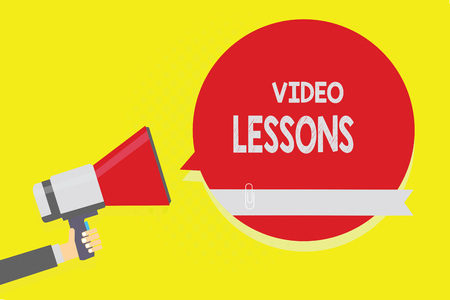 Handwriting text Video Lessons. Concept meaning Online Education material for a topic Viewing and learning Man holding megaphone loudspeaker red speech bubble yellow background