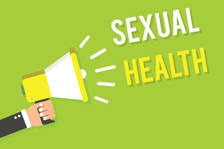 Conceptual hand writing showing Sexual Health. Business photo text Healthier body Satisfying Sexual life Positive relationships Man holding megaphone loudspeaker green background speaking loud Фото со стока