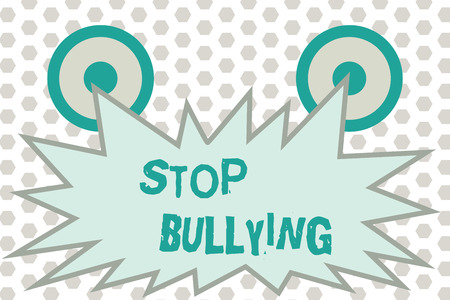 Word writing text Stop Bullying. Business concept for Fight and Eliminate this Aggressive Unacceptable Behavior. Standard-Bild