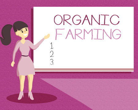 Handwriting text writing Organic Farming. Concept meaning an integrated farming system that strives for sustainability.