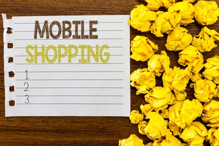 Handwriting text Mobile Shopping. Concept meaning Buying and selling of goods and services through mobile.