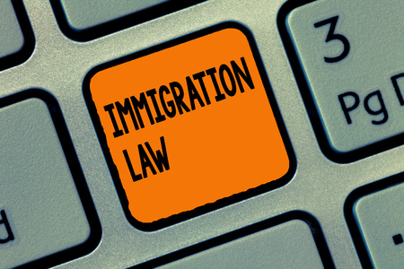 Handwriting text writing Immigration Law. Concept meaning Emigration of a citizen shall be lawful in making of travel.