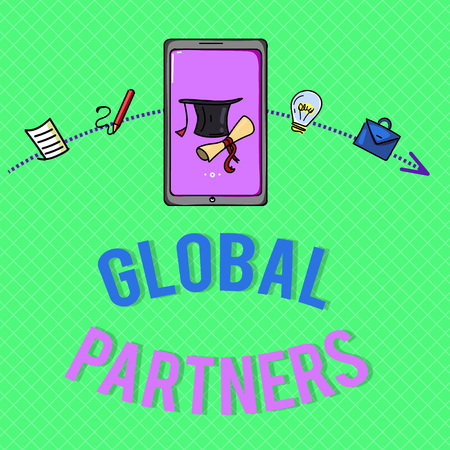 Text sign showing Global Partners. Conceptual photo Two or more firms from different countries work as a team. 版權商用圖片 - 107830806