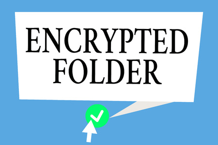 Conceptual hand writing showing Encrypted Folder. Business photo text protect confidential data from attackers with access.