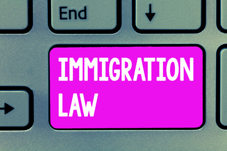 Word writing text Immigration Law. Business concept for Emigration of a citizen shall be lawful in making of travel.