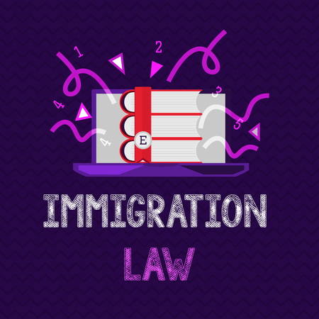 Handwriting text Immigration Law. Concept meaning Emigration of a citizen shall be lawful in making of travel.