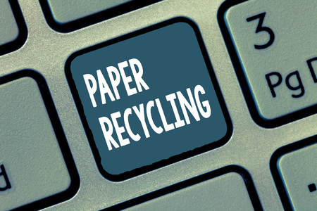 Conceptual hand writing showing Paper Recycling. Business photo showcasing Using the waste papers in a new way by recycling them.