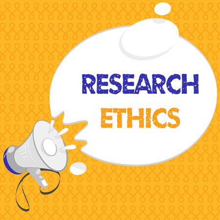 Handwriting text Research Ethics. Concept meaning interested in the analysis of ethical issues that raised .