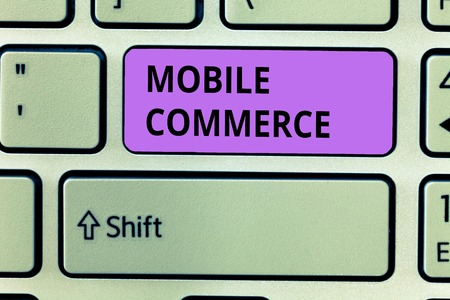 Conceptual hand writing showing Mobile Commerce. Business photo showcasing Using mobile phone to conduct commercial transactions online. Stock Photo