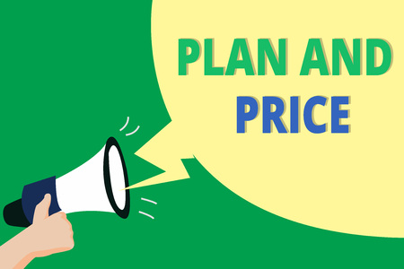 Word writing text Plan And Price. Business concept for setting decent price for product to sale according market. 免版税图像