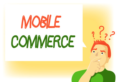 Writing note showing Mobile Commerce. Business photo showcasing Using mobile phone to conduct commercial transactions online. Stock Photo