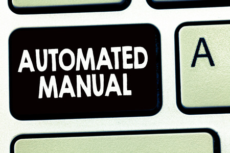 Writing note showing Automated Manual. Business photo showcasing as trigger shift and it can switch between moods easily.