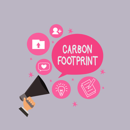 Word writing text Carbon Footprint. Business concept for amount of dioxide released atmosphere result of activities. Stock Photo