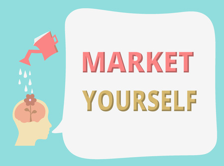 Writing note showing Market Yourself. Business photo showcasing Making yourself for any kind of task and project in life. Stock fotó