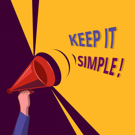 Conceptual hand writing showing Keep It Simple. Business photo showcasing Remain in the simple place or position not complicated. Stock Photo