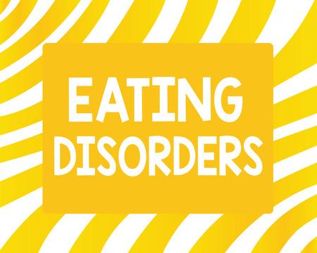 Word tekst intoetsen eetstoornissen. Bedrijfsconcept voor een reeks psychologische abnormale eetgewoonten.