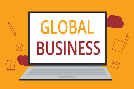 Word writing text Global Business. Business concept for Trade and business system a company doing across the world.