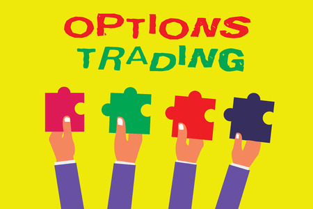 Conceptual hand writing showing Options Trading. Business photo showcasing Different options to make goods or services spread worldwide. Banco de Imagens