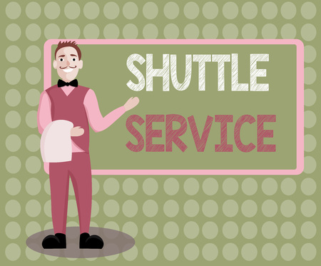 Handwriting text writing Shuttle Service. Concept meaning vehicles like buses travel frequently between two places. Stock Photo