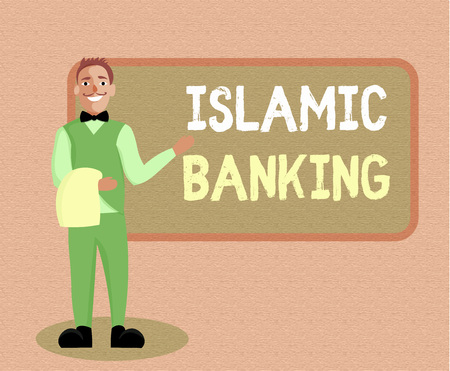 Writing note showing Islamic Banking. Business photo showcasing Banking system based on the principles of Islamic law. 版權商用圖片