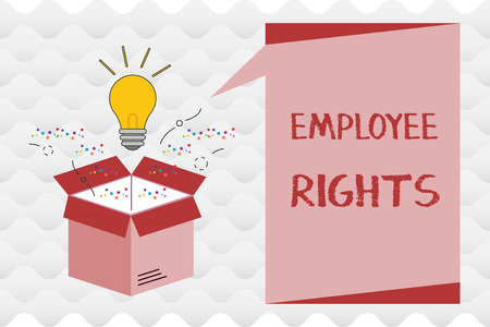Handwriting text Employee Rights. Concept meaning All employees have basic rights in their own workplace. Imagens
