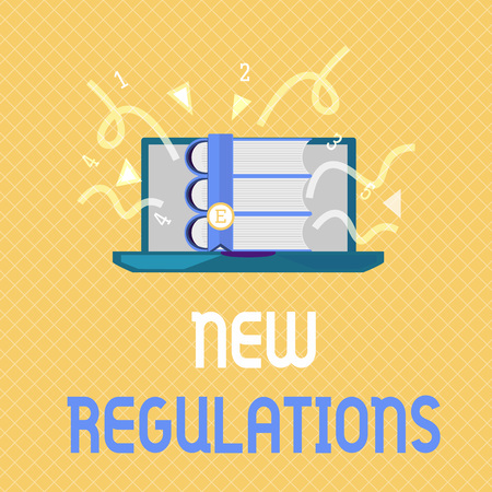 Word writing text New Regulations. Business concept for Regulation controlling the activity usually used by rules..