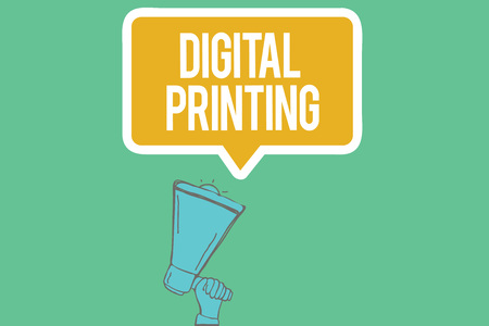Writing note showing  Digital Printing. Business photo showcasing digital based images directly to variety of media.