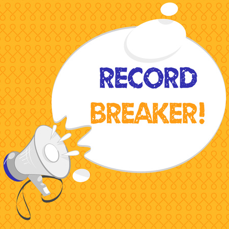 Handwriting text Record Breaker. Concept meaning someone or something that beats previous best result . Imagens