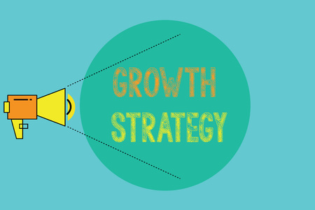 Conceptual hand writing showing Growth Strategy. Business photo showcasing Strategy aimed at winning larger market share in shortterm. Imagens