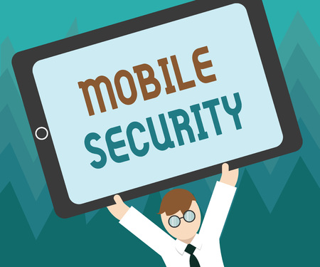 Conceptual hand writing showing Mobile Security. Business photo showcasing Protection of mobile phone from threats and vulnerabilities.