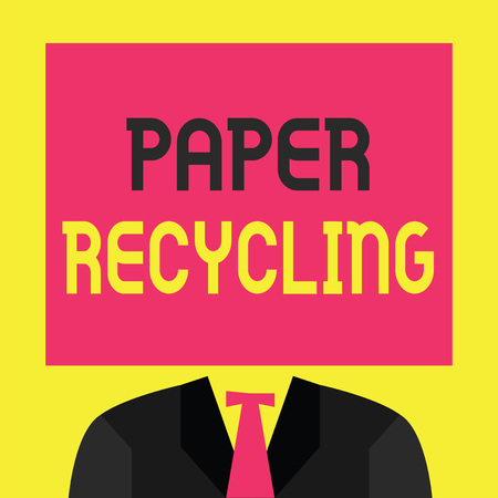 Writing note showing  Paper Recycling. Business photo showcasing Using the waste papers in a new way by recycling them. Stock Photo