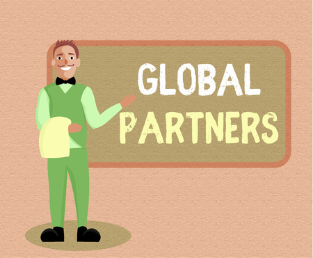 Writing note showing Global Partners. Business photo showcasing Two or more firms from different countries work as a team.