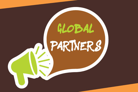 Conceptual hand writing showing Global Partners. Business photo showcasing Two or more firms from different countries work as a team.