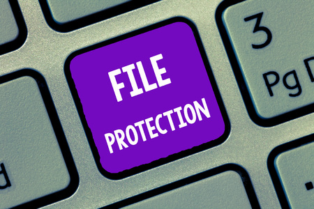 Handwriting text writing File Protection. Concept meaning Preventing accidental erasing of data using storage medium.
