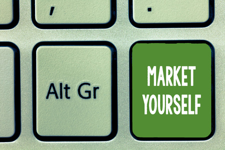 Word writing text Market Yourself. Business concept for Making yourself for any kind of task and project in life.