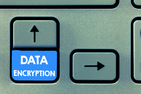 Writing note showing Data Encryption. Business photo showcasing Symmetric key algorithm for the encrypting electronic data. Stock Photo