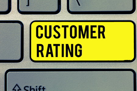 Text sign showing Customer Rating. Conceptual photo Each point of the customers enhances the experience.