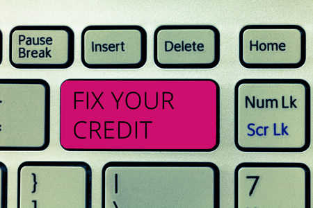 Word writing text Fix Your Credit. Business concept for Keep balances low on credit cards and other credit.