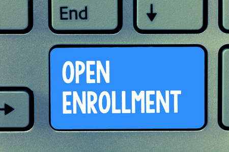 Word writing text Open Enrollment. Business concept for The yearly period when people can enroll an insurance. 스톡 콘텐츠