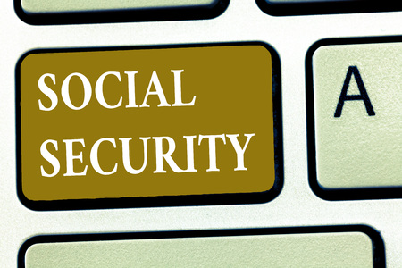 Text sign showing Social Security. Conceptual photo assistance from state people with inadequate or no income. Stockfoto - 107899794