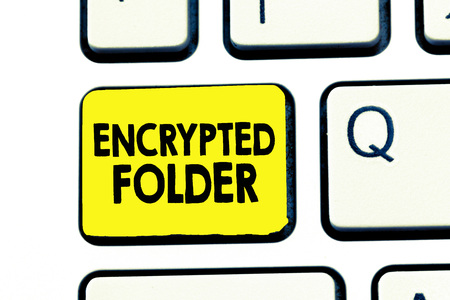 Text sign showing Encrypted Folder. Conceptual photo protect confidential data from attackers with access.