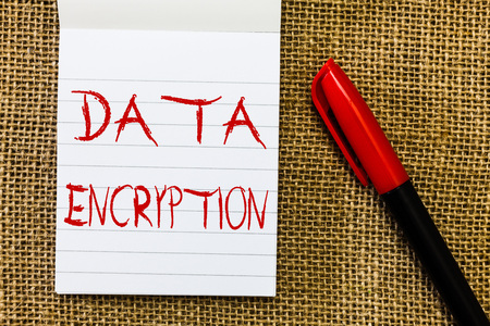 Handwriting text Data Encryption. Concept meaning Symmetric key algorithm for the encrypting electronic data. Stock Photo